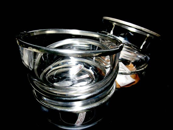 Set of 6 Silver Rimmed Bowls, Florence Italy, 800% Silver, Argento AGP, Silver Rimmed Barware, Snack Bowls