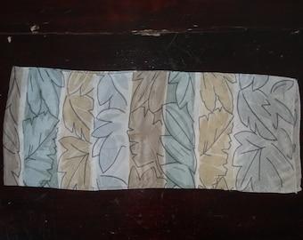 Vintage Liz Claiborne designer silk oblong scarf modern leaves  in soft pastel brown, teal and gray --subtle and gorgeous