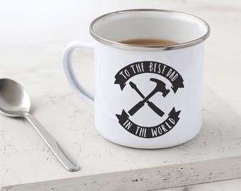 DIY Dad Enamel Mug - Father's Day Gift - Hand Lettered Typography Mug - Metal Mug - Gift for Dad