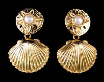 KJL Shell Earrings - Clip On - S2071