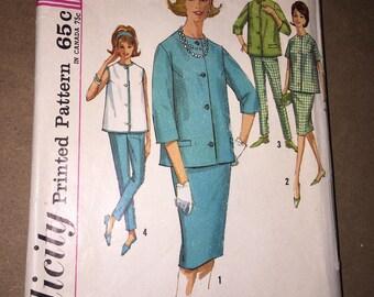 Vintage 1960s Simplicity 4858 Maternity Skirt, Blouse & Pants Pattern, Size 14