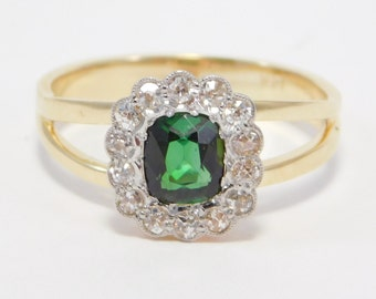 Gorgeous Chrome Tourmaline And Diamonds 14K Antique Ring