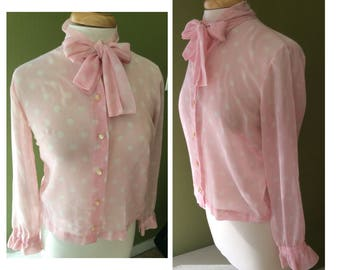 Vintage baby pink blouse with white polkadots + Bow detail + Medium