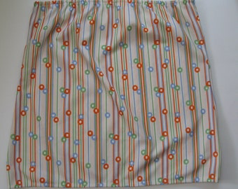 Pastel rainbow skirt, 1970s vintage mod spots and stripes, pull on, size medium, NOS