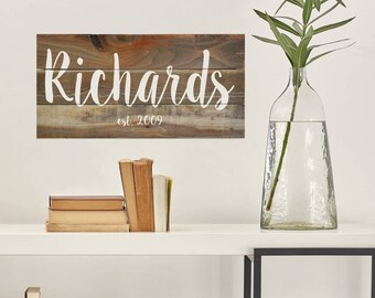 Last Name Sign, Family Established Sign, Personalized Family Name sign, Rustic Wood Decor, Housewarming Gift, Wedding Gift, Weathered Wood