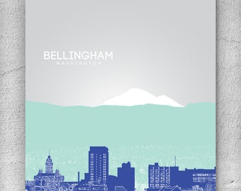 Bellingham Skyline Office Art Poster, Home Decor Art Print / Any City or Location