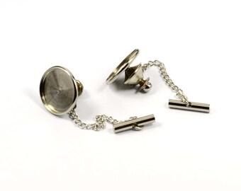 5 Set  Silver Tone  Tie Tack 16 mm Bezel Settings Findings