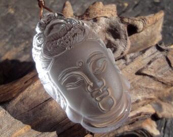 "Carved Rock Crystal Pendant,""Guan Yin"",Semiprecious Stone,Q-Stone,Big,43x25x16mm"