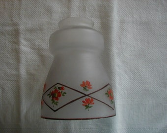 Very nice frosted painted glass shade, measures 5 1/4 tall, 2 inch opening where shade fits on lamp top of shade 4 inches.
