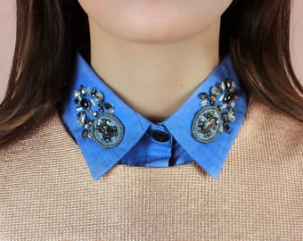 Faux shirt collar denim with sequin / Malicieuse accessories
