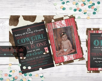 Birthday Invitation & Thank You Card / Rustic / Cowgirl / Vintage / Glitter Wood / Lace / Boots / Horseshoe /Pink / Teal