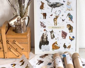 ABC print, animal chart, Irish or english educational poster