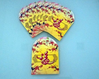 Set of 8 Chinese Lucky Packet Small Money Envelopes Chinese Hong Bao Chinese Envelopes Yellow Envelopes Gold Envelopes Yellow Cash Envelopes