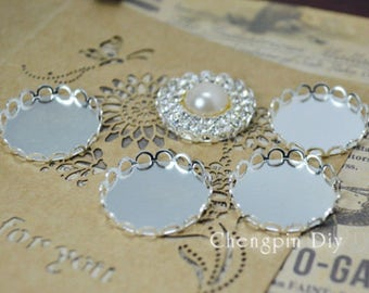 50pcs 25mm Silver plated Brass lace Cameo Cabochon Base Setting Pendant Blank jewelry tray for jewelry making diy supply