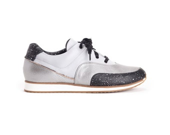 New // Grey and Silver Sneakers, Leather Sneakers, Hand Made Sneakers, Designers Sneakers // Free Shipping
