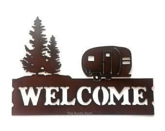 CAMPER TRAILER with Tree WELCOME sign made of Rusted Rusty Rusted Recycled Metal