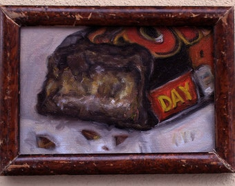 Realist Painting of a Candy Bar done in Oils on Canvas Board