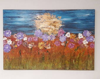 Acrylic Painting Home Decor Wall Art Original Painting Impasto Art Textured Flower Painting Colorful Landscape Flower Art by jillsfineart