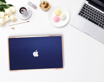 Platinum Midnight Metallic Blue and Rose Gold/Copper Edge Detailing Hybrid Hard Case for Apple Mac Air & Mac Retina