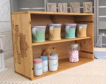 Rustic wooden wine crate storage shelf - Chateau Giscours