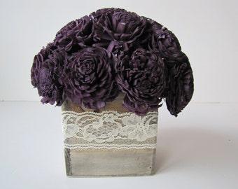 Dark Purple Keepsake Arrangement -Eggplant Sola Flower Arrangement - Simple Floral Centerpiece - Wedding Centerpiece - Rustic Centerpiece