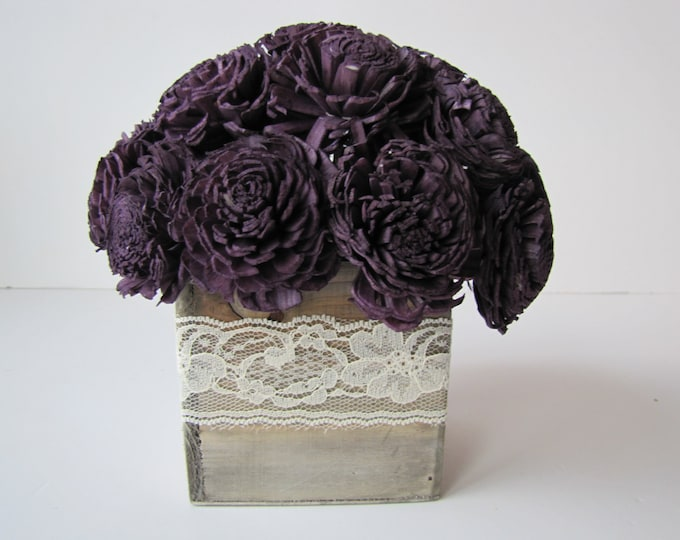 Dark Purple Keepsake Arrangement -Eggplant Sola Flower Arrangement - Simple Floral Centerpiece - Wedding Centerpiece - Rustic Centerpiece