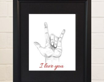 ASL Art, Sign Language Art, Watercolor Painting, Watercolor Print, ASL Alphabet, ASL I love you, Sign Language I love You, I love you Hand