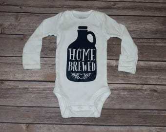Home-brewed Baby Long Sleeve Bodysuit Available in Black, Charcoal, Gray, Navy & Gold