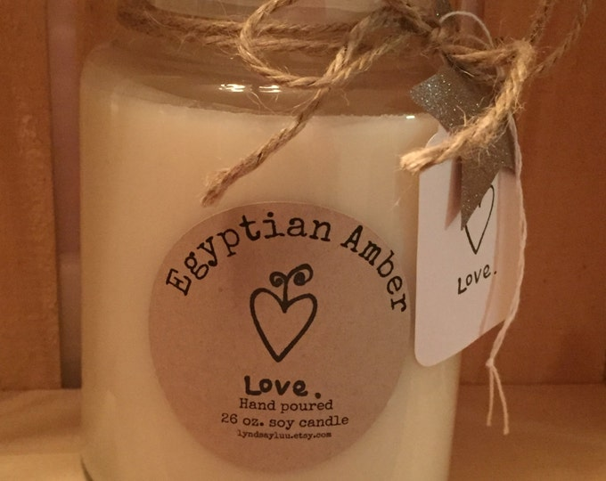 Handmade, Hand Poured, all Natural, EGYPTIAN AMBER scented, 100% Soy Candle in a 26 oz. Glass Apothecary Jar with a Cotton Wick