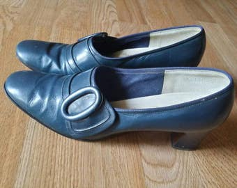 Vintage Blue Teal 50's Red Cross Buckle Shoes Size 7