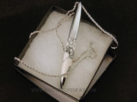 Pen Necklace in White Turquoise