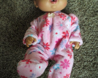 "Baby Alive Doll Clothes  Handmade Footed PJ's Sleeper fits 12-13"" MINKY SOFT Fabric"