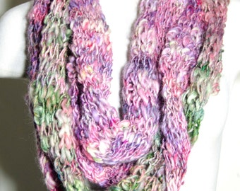 Hand Spun Art Yarn Scarf *Knit Scarf -Pink, Purple and Green Funky and Fun Mereno Wool  * Soft and Warm  *~* Gift For Her
