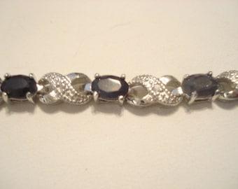 Vintage Silver And Sapphire Bracelet