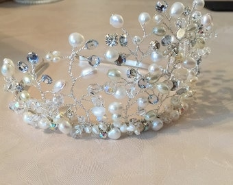 Freshwater pearl,Swarovski,rhinestone tiara