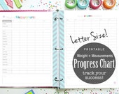 Progress Chart Weight Loss Printable Planner Tracker, Measurements - for your fitness planner