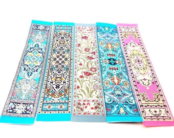 Set of 5 (Five) Miniature Woven Carpet Bookmarks, Kilim Tapestry Turkish Greek