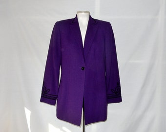 Sz 8 Wool Blazer Jacket - Kasper & Co. - Deep Purple - 80s Vintage - Wear to Work -Business - Office