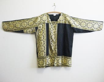 Gold Black Tunic Top Embroidered One Size Plus Size - Black Magic - Button Front