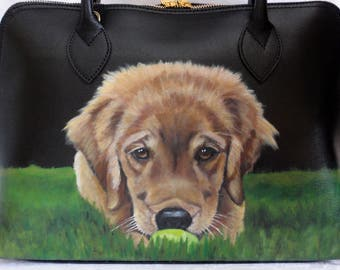 Hand painted Leather Tote 'Bernie' Golden Puppy