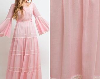 Prairie WEDDING Dress 70s HIPPIE Bell Sleeve BOHEMIAN Maxi vintage dress Pink prairie seventies dress