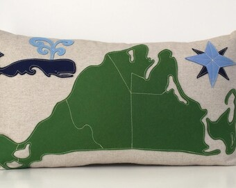 Martha's Vineyard Map Pillow with Spouting Whale in Green and Blue Felt Applique on Oatmeal Linen