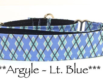 Martingale Dog Collar, Blue Argyle Dog Collar, Blue Argyle Martingale Dog Collar, Preppy Dog Collar, Blue Dog Collar, Boyish, Light Blue