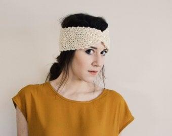 SALE: Cream Yarn Knitted Cinched Headband/Headwrap