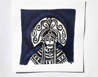 Woman with a beautiful headdress print