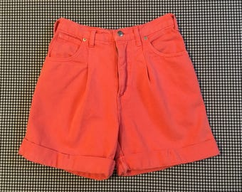 1990's, high waist, pleated front, cuffed leg, denim shorts, in bright salmon, Women's size 6