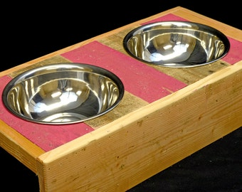 "Dog Bowl Stand, Rustic, Reclaimed Wood, 5-1/4"" Tall, Fits Standard Quart-Size Bowls, Free Shipping"