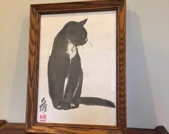"Vintage Da-Wei Kwo Lithograph ""Tip"" framed 1950s Black Cat"