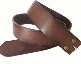 Premium Quality Distressed Brown Leather snap on Belt Strap - removable - Pick your Size - Sale - for buckle