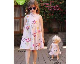 Pattern - Rose Dress & Doll dress Paper Sewing Pattern by Olive Ann Designs (OAD97)